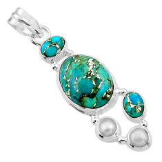 15.02cts blue copper turquoise pearl 925 sterling silver pendant jewelry r44673