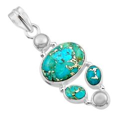 15.04cts blue copper turquoise pearl 925 sterling silver pendant jewelry r44676