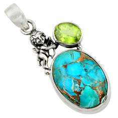17.95cts blue copper turquoise peridot 925 sterling silver angel pendant d41738