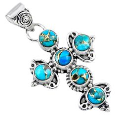 4.65cts blue copper turquoise round sterling silver holy cross pendant r55864