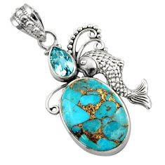 12.60cts blue copper turquoise topaz 925 sterling silver fish pendant d46682