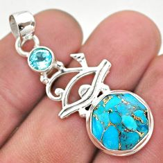 6.01cts blue copper turquoise topaz 925 sterling silver horse eye pendant t46393