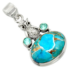 15.39cts blue copper turquoise topaz 925 sterling silver owl pendant d41737
