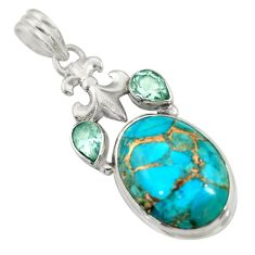 Clearance Sale- 18.94cts blue copper turquoise topaz 925 sterling silver pendant jewelry d41736