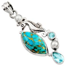 16.92cts blue copper turquoise topaz 925 sterling silver seahorse pendant d45961