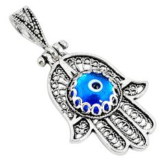 Blue evil eye talismans 925 silver hand of god hamsa pendant c20924