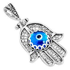 3.46cts blue evil eye talismans 925 silver hand of god hamsa pendant c21128