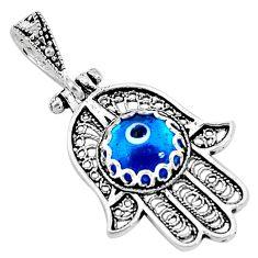 3.50cts blue evil eye talismans 925 silver hand of god hamsa pendant c21138