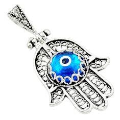 Blue evil eye talismans 925 sterling silver hand of god hamsa pendant c20937