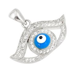 3.06cts blue evil eye talismans topaz 925 sterling silver pendant jewelry c21123