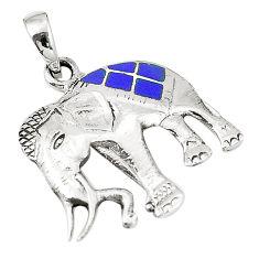 Blue lapis lazuli enamel 925 silver elephant pendant jewelry c12471