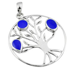 3.69gms blue lapis lazuli enamel 925 silver tree of life pendant a88376 c13709