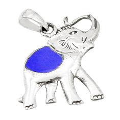 Blue lapis lazuli enamel 925 sterling silver elephant pendant a79714 c13761