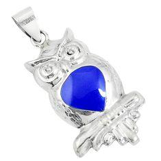 2.69gms blue lapis lazuli enamel 925 sterling silver owl pendant a93289 c14862