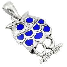 Blue lapis lazuli enamel 925 sterling silver owl pendant jewelry c12576