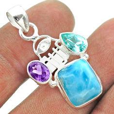 10.02cts blue larimar amethyst topaz 925 silver hand of god hamsa pendant t56581