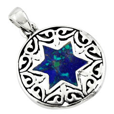 4.26gms blue malachite in chrysocolla 925 silver wicca symbol pendant c10278