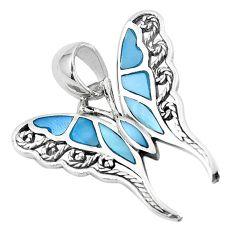 3.26gms blue pearl enamel 925 sterling silver butterfly pendant a88604 c14834