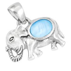 3.89gms blue pearl enamel 925 sterling silver elephant pendant a93297 c14533