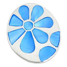 Blue pearl enamel 925 sterling silver flower pendant jewelry a74733 c14476