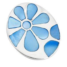 Blue pearl enamel 925 sterling silver flower pendant jewelry a74734 c14480