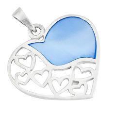 3.26gms blue pearl enamel 925 sterling silver heart pendant a93282 c14898