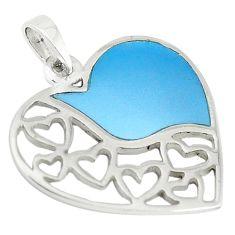 Blue pearl enamel 925 sterling silver heart pendant jewelry a67742 c14891