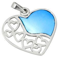 Blue pearl enamel 925 sterling silver heart pendant jewelry c22751