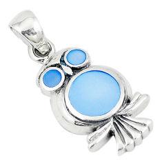 Blue pearl enamel 925 sterling silver owl pendant jewelry a74730 c14514