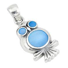 Blue pearl enamel 925 sterling silver owl pendant jewelry a74738 c14508