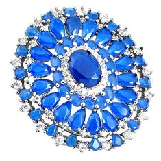 11.23cts blue sapphire (lab) topaz 925 sterling silver pendant jewelry c19930