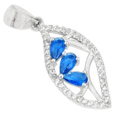 1.54cts blue sapphire (lab) topaz 925 sterling silver pendant jewelry c23493