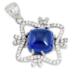 5.54cts blue sapphire (lab) topaz 925 sterling silver pendant jewelry c23507