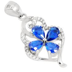 4.46cts blue sapphire (lab) topaz 925 sterling silver pendant jewelry c23514