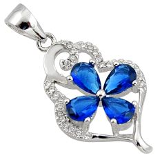 4.46cts blue sapphire (lab) topaz 925 sterling silver pendant jewelry c26681