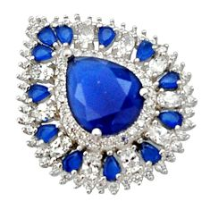 8.32cts blue sapphire (lab) topaz 925 sterling silver pendant jewelry c9925
