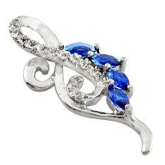 1.53cts blue sapphire (lab) topaz 925 sterling silver pendant jewelry c9959