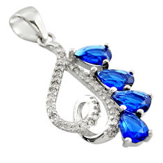 4.16cts blue sapphire (lab) topaz 925 sterling silver pendant jewelry c9960