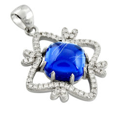 6.22cts blue sapphire (lab) topaz 925 sterling silver pendant jewelry c9975