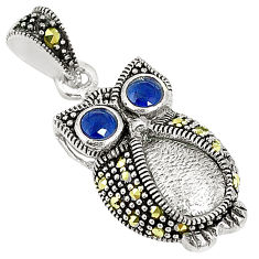 Blue sapphire quartz marcasite 925 sterling silver owl pendant c17123