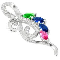 Blue sapphire quartz russian nano emerald 925 silver pendant jewelry c22812