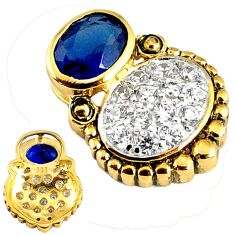 Blue sapphire quartz topaz 925 sterling silver 14k gold pendant jewelry c22788