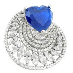 Blue sapphire quartz topaz 925 sterling silver heart pendant jewelry c19914