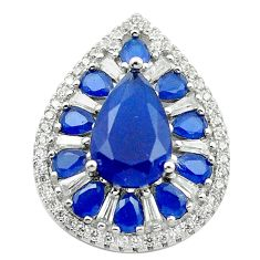 Blue sapphire quartz topaz 925 sterling silver pendant jewelry c19060