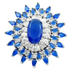 Blue sapphire quartz topaz 925 sterling silver pendant jewelry c19131
