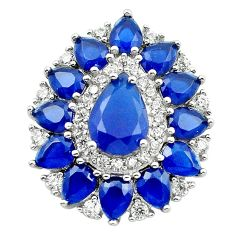 Blue sapphire quartz topaz 925 sterling silver pendant jewelry c19910