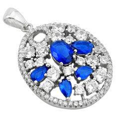 Blue sapphire quartz topaz 925 sterling silver pendant jewelry c22157
