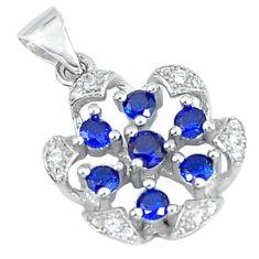 Blue sapphire quartz topaz 925 sterling silver pendant jewelry c22777