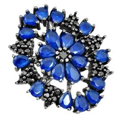 Blue sapphire quartz topaz black rhodium 925 sterling silver pendant c19067