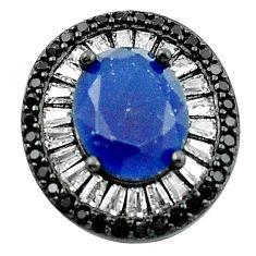 Blue sapphire quartz topaz rhodium 925 sterling silver pendant jewelry c19094